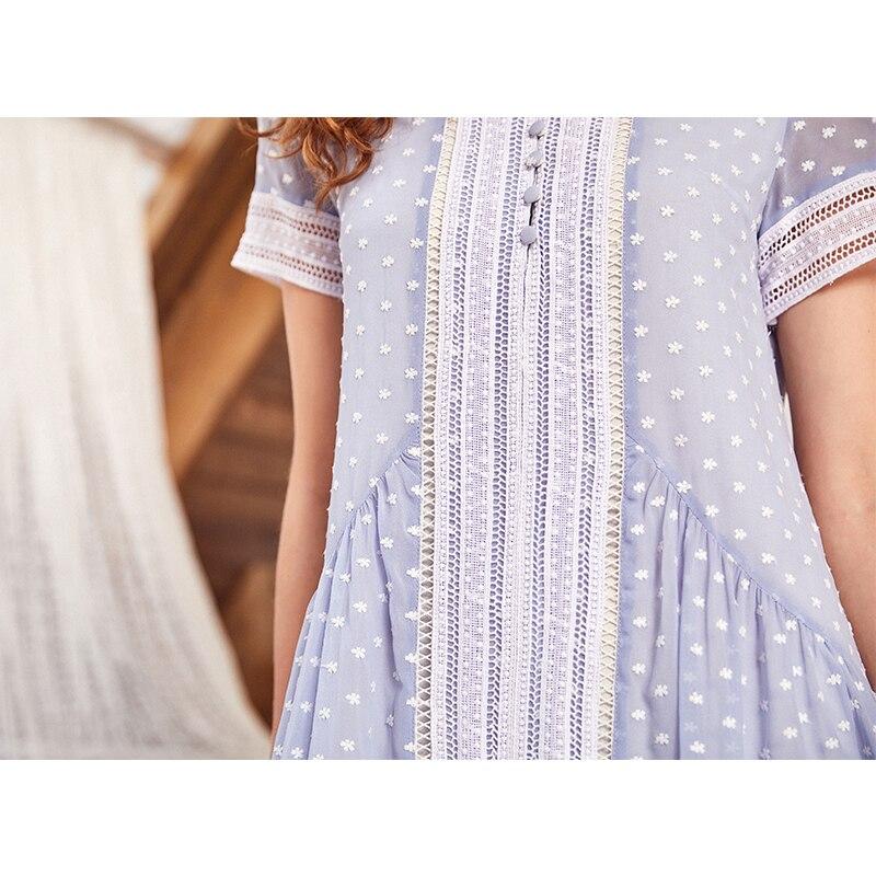 Broderie Creux Femmes Raffolait Robe Pu Simple Nouvelles Artka Ciel 2018 Swing Couture La11080x Un forme Lâche D'été Long Taille Grand qwq6xtPaO