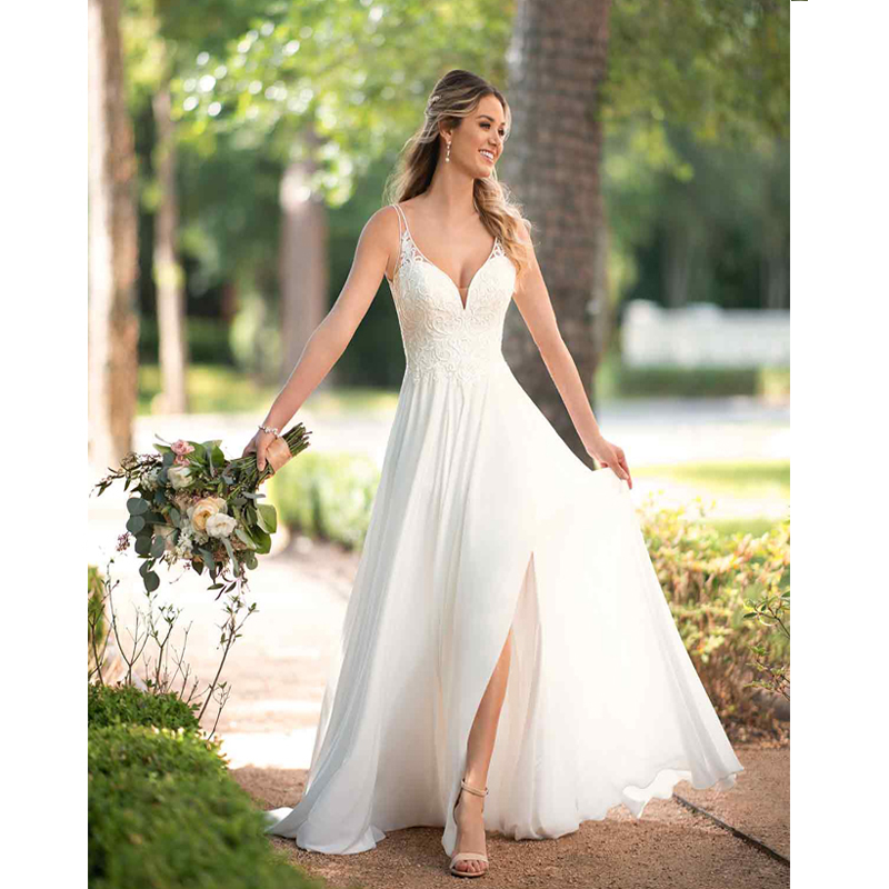 Eightree White Chiffon Beach Wedding Dress V neck Appliqued Lace Princess Wedding Gowns Mid Split Wedding Party Dress Bridal in Wedding Dresses from Weddings Events