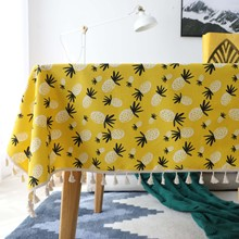 Cotton Linen Table Cloth Country Style Pineapple print Multifunctional Rectangle Table Cover Tablecloth for Kitchen