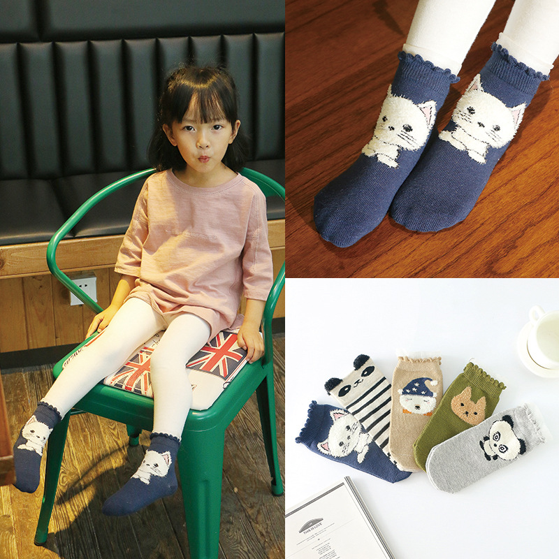 ADOMI 5 Pairs/lot Soft Cotton Boys Girls Socks Cute Cartoon Pattern Kids Socks For Baby Boy Girl 5 Kinds Style For 3-12Y