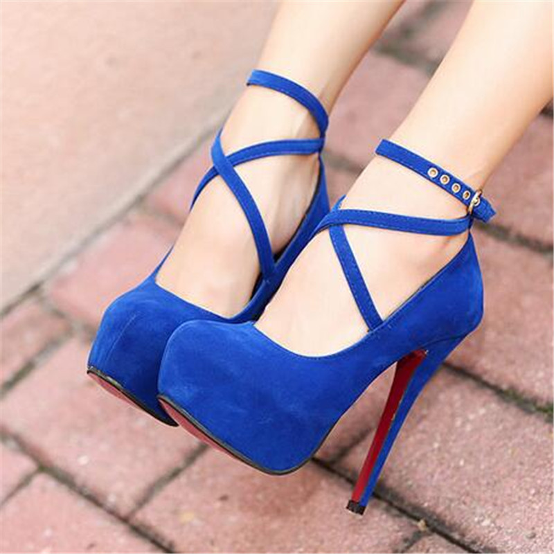 Women Shoes Pumps Strap Thin Heels Round-Toe Retro Autumn Super-High Size-34-42 Spring