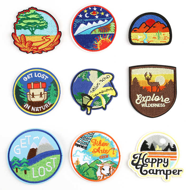 1 PCS Nature Forest Patches for Tops Iron on Badges Stripes Anime Clothes Appliques Sewing Embroidery Animals Stickers @W