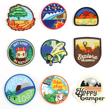1 PCS Nature Forest Patches for Tops Iron on Badges Stripes Anime Clothes Appliques Sewing Embroidery Animals Stickers @W(China)
