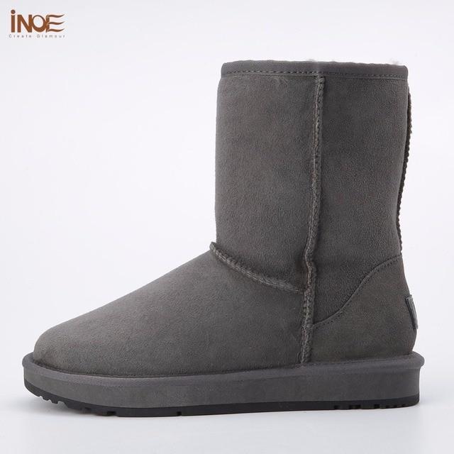 INOE gerçek koyun derisi deri erkek süet kış kar botları erkekler için yün kürk astarlı kış ayakkabı yüksek kalite kahverengi siyah gri 33-44