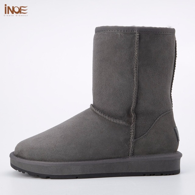 INOE real sheepskin leather man suede winter snow boots for men wool fur lined winter shoes high quality brown black gray 33-44