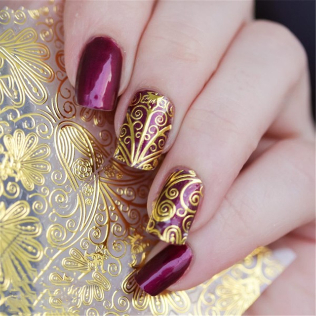 8 Sheets Gold Color Lace Flower Adhesive Nail Art Decorations Stickers Beauty Full Cover