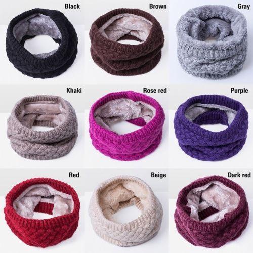 Fashion Women Girls Mens Knitted Wool Warm Winter Fleece Neck Warmer