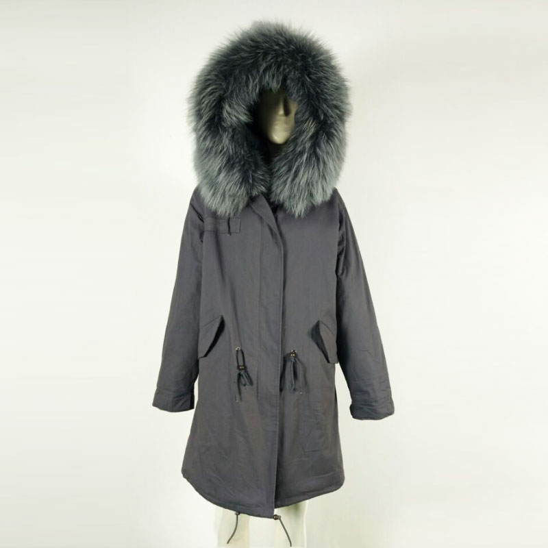 Armiqueen Winter and Spring Long fur parka for women and man big size Raccoon collar jacket parka
