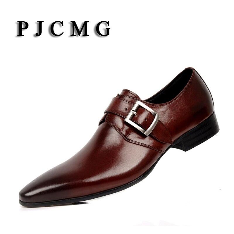PJCMG EU38 44 PRIMAVERA/otoño nueva moda para hombre Formal comercial cuero genuino puntero Oficina y carrera para hombre sapatos zapatos-in Zapatos informales de hombre from zapatos    1