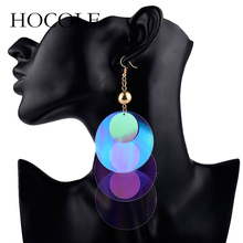 HOCOLE 2018 Summer Big Round Sequins Earrings for Women Boho Colorful Tassel Earring New Fashion Ear Jewelry Accessories