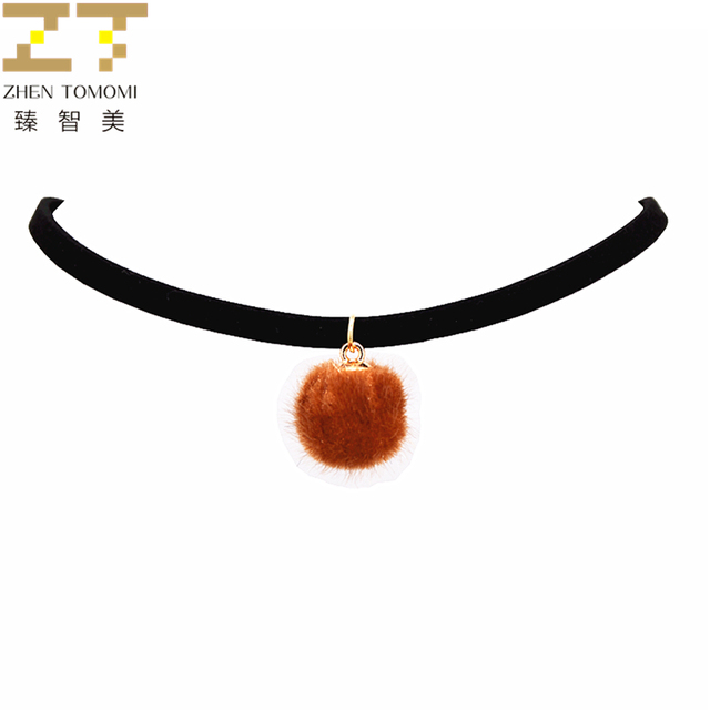 Hot Fashion Plush Ball Pendants Collares Collier Black Velvet Leather Hairball Chokers Necklaces Women Jewelry 2018 New Arrivals