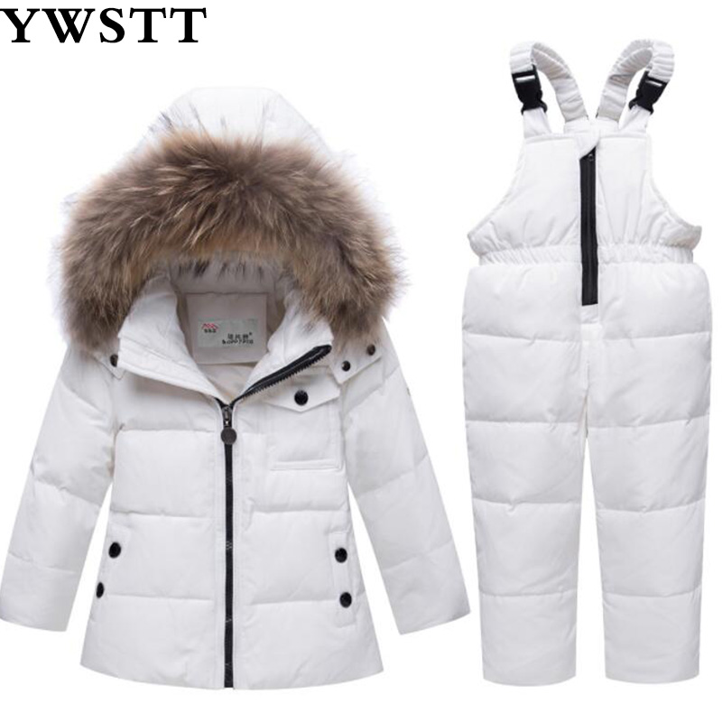 -30degrees Russia Winter Baby Sets Children Clothing for Girl Ski Suit Boy Outdoor Sport Kids Down Coats Jackets+trousers Fur 2018 winter children clothing set russia baby girl snow wear boy s outdoor snowsuit kids down coats jackets trousers 30degree
