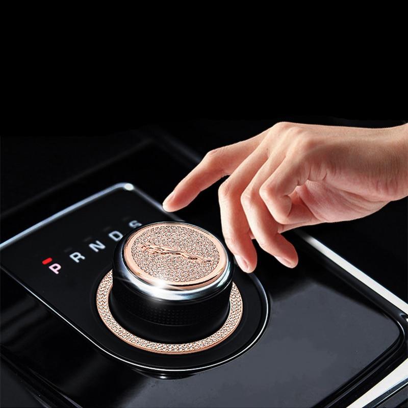 Car Styling Accessories For Jaguar XJL XFL XE F-PACE Car Gear Panel Knob Diamond Decorative Stickers Automobile Metal Sticker