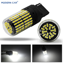 MODERN CAR 1pcs T20 7440 W21W LED Light Bulbs for Car 3014 144smd led Canbus 1156 1157 Auto Turn Signal Lights Lamp Backup W5W car light sourse t20 1156 1157 2835 48smd 15w canbus error free car auto red led backup reverse stoplight light bulb lamp