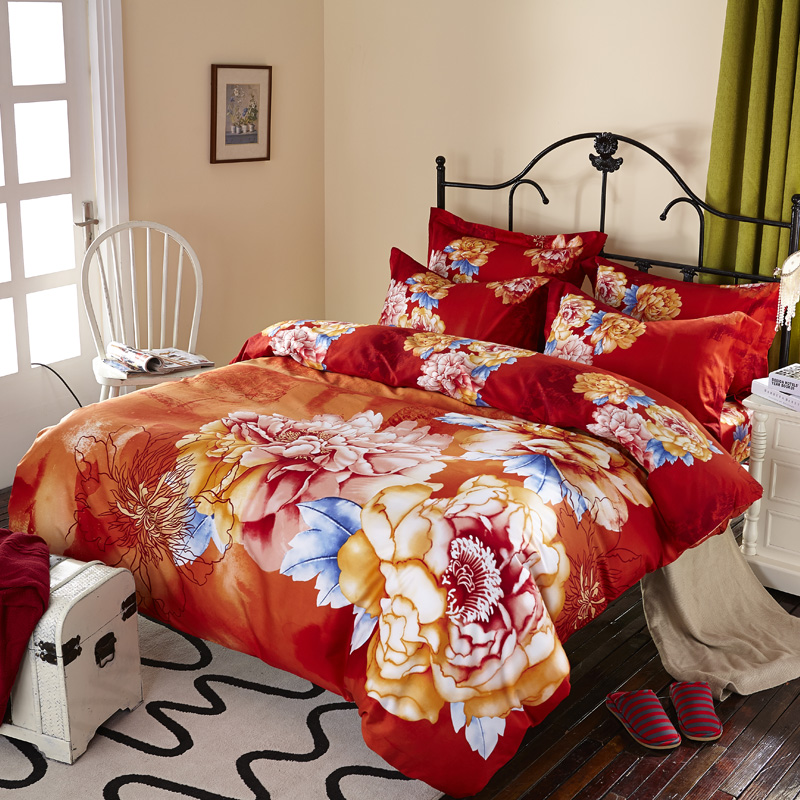 Linge De Lit King Size Red And Orange Floral Chinese Peony Rose Watercolor