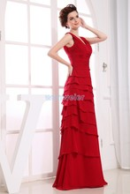 free shipping 2014 formal dresses new design maxi long brides maid dress gown custom size/color red Bridesmaid Dresses