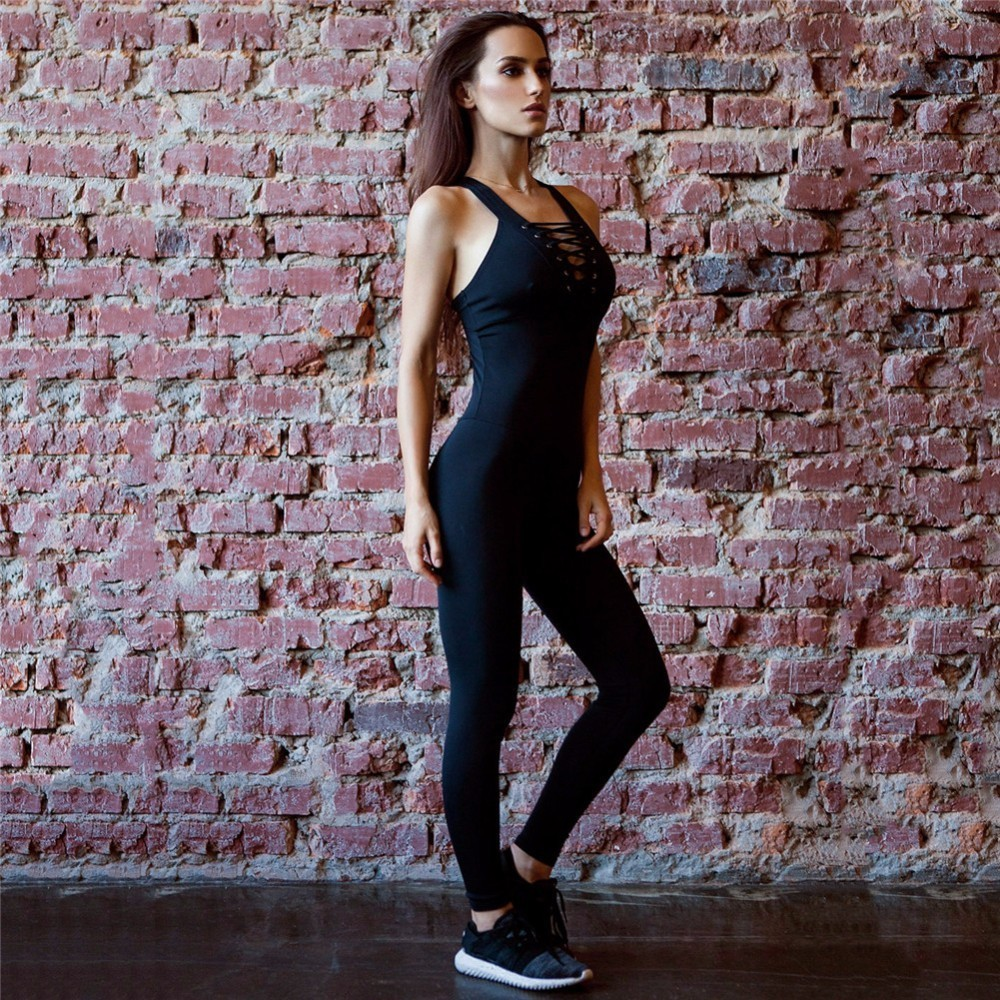 Yoga Set Backless Gym Running Set Fitness Sport Suit Sportswear Leggings Bandage Jumpsuits Workout Sport Clothes