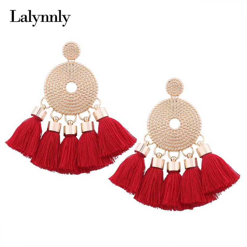 Lalynnly Handmade Bohemian Tassel Earrings Black Red Fringed Earrings Gold Dangling Earrings for Women Vintage Jewelry E14371