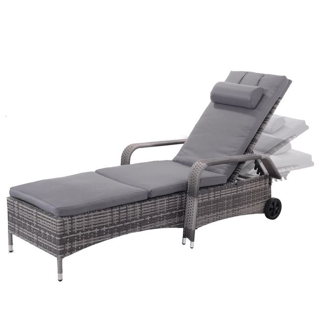 Verstelbare Lounge Stoel.Giantex Outdoor Chaise Lounge Stoel Fauteuil Cushioned Patio