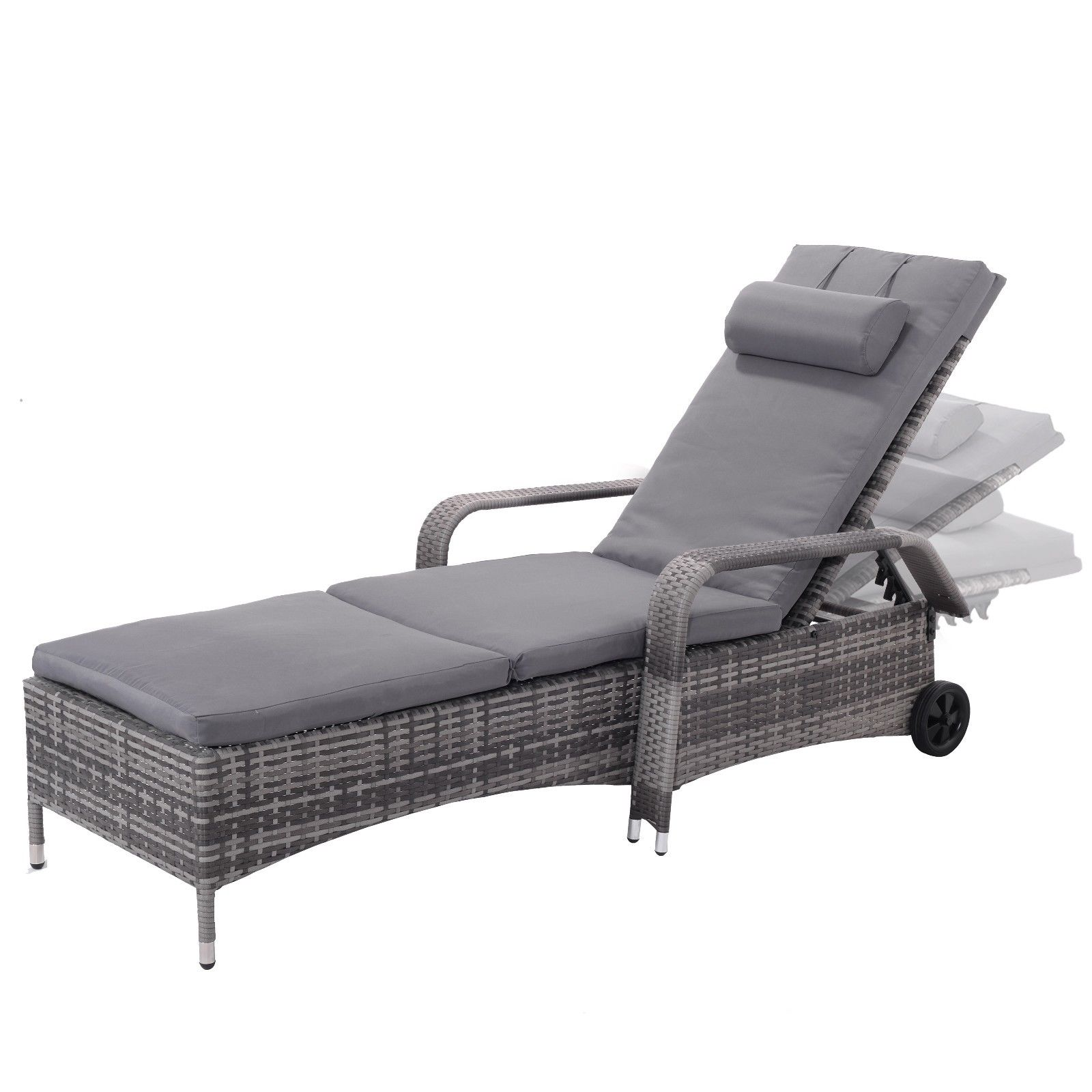 Giantex Outdoor Chaise Lounge Chair Recliner Cushioned Patio Garden Furniture Adjustable Lounge Chairs with Wheels HW53958 ...