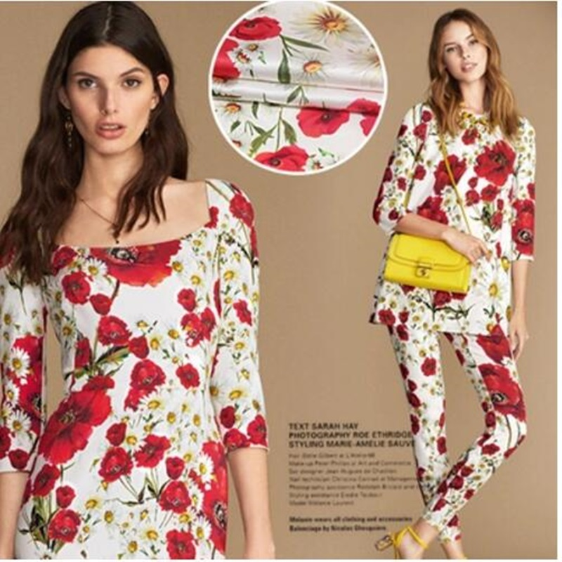 Daisy Love (White) Sicilian Flower Big Brother Digital Inkjet Elastic Silk Satin Fabric Silk