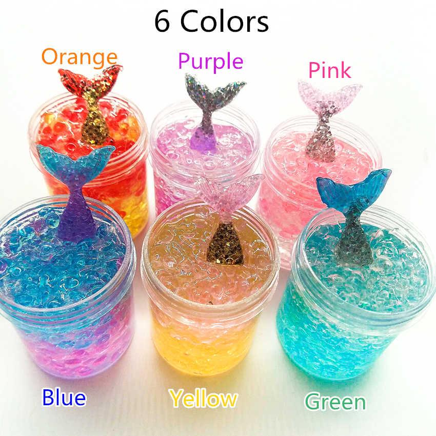 Русалочка слизь DIY шарик глина 6 цветов Кристалл декомпрессии шпатлевка аромат желе слизь антистресс грязевая игрушка набор для детей 120 мл