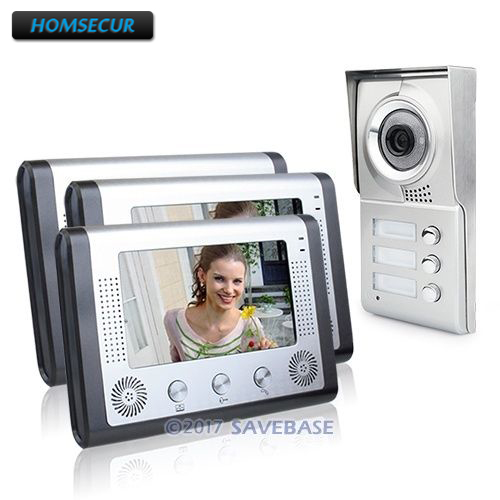 HOMSECUR Apartment Video Intercom For 3 Rooms 4-Wire Connection Metal Casing 7 Monitors