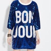 Just Be Never Women Punk Tshirt 80 S Europe America Style Kawaii Harajuku Blue Sequins Dance