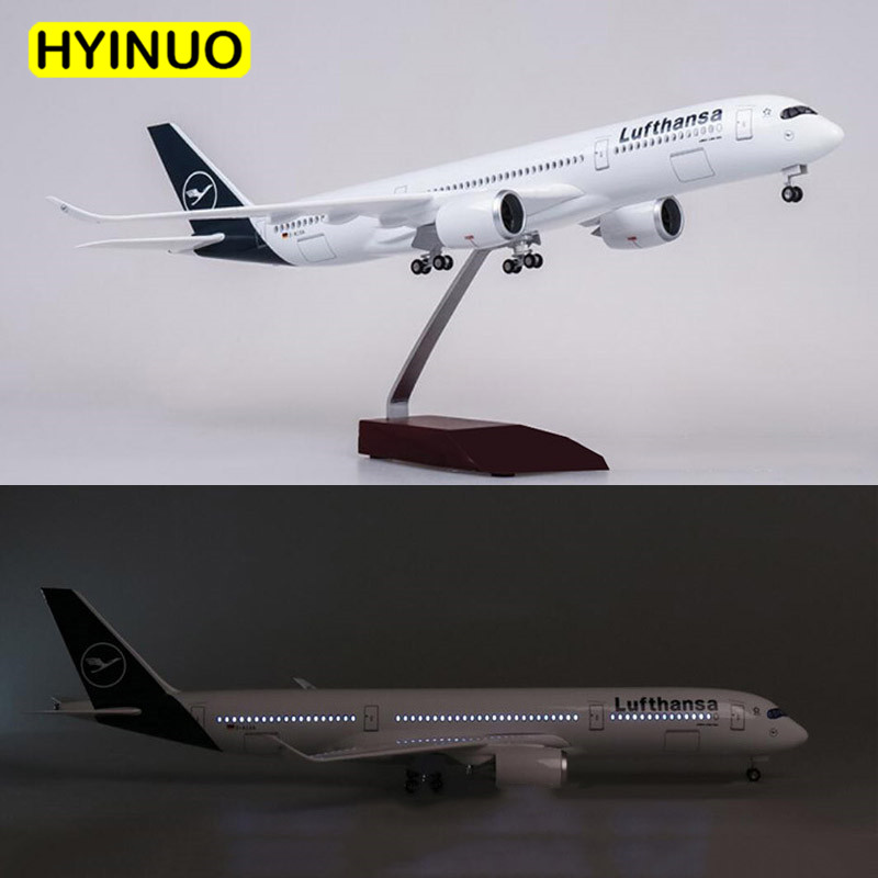 1/142 Scale 47CM Airplane Airbus A350 Lufthansa Airline Model W LED Light & Wheel Diecast Plastic Resin Plane For Collection