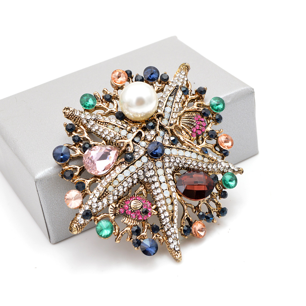 CINDY XIANG New Arrival Large Starfish Brooches for Women Colorful Fish Sea Animal Pins Creative Luxury Fashion Pin Brooch Gift in Brooches from Jewelry Accessories