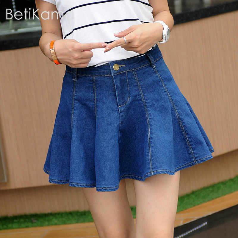 9f25b03eef Girls Summer Solid Blue Jeans Pleated Mini Skirt Lolita Style Micro Elastic  Denim Skirts Women Sexy