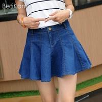 Girls Summer Solid Blue Jeans Pleated Mini Skirt Lolita Style Micro Elastic Denim Skirts Women Sexy