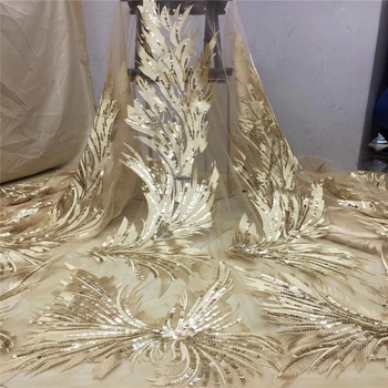 Tollola Gold Nigerian Lace Fabrics High Quality African Laces Fabric For Wedding Dress French Tulle Lace With Sequins 5 Yards
