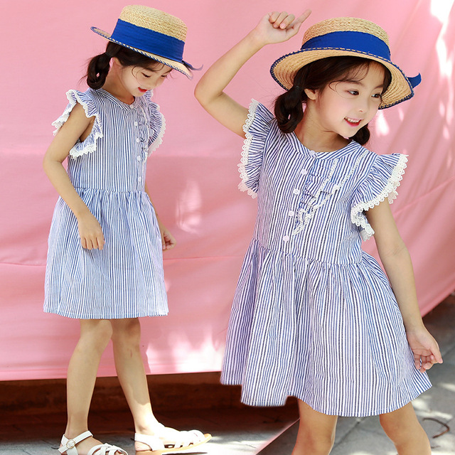 Big Girls Lace Dress Summer 2018 Children Cotton Sleeveless Blue ...