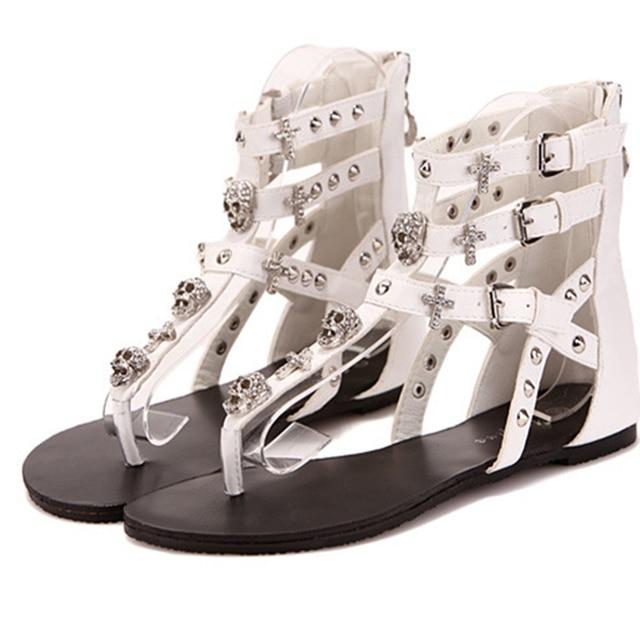 dfcf0d76335f3f Woman Rhinestone Crosses Skull Rome Flip Flops Fashion Thong Sandals  Slippers Ladies Flat Sandals Women Summer Shoes Rivet Punk