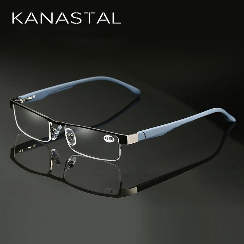 KANASTAL Alloy Reading Glasses Men High Quality Business Eyeglasses Hyperopia Prescription Glasses +0.75 +1.25 +1.5 +1.75 +5.0