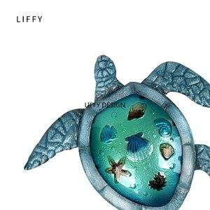 Image 3 - Turtle metalowa grafika ścienna do dekoracji ogrodowych posągi zewnętrzne i akcesoria do miniatur zwierząt rzeźby