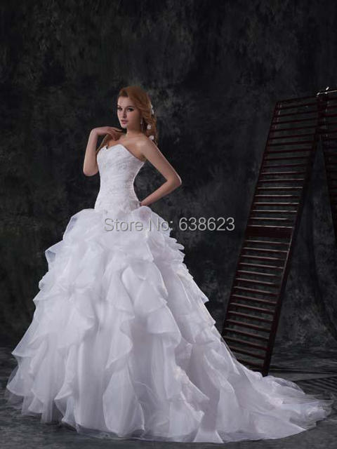DAW2494 Wholesale 2016 Luxuriou Wedding Dresses Organza Bridal Gowns