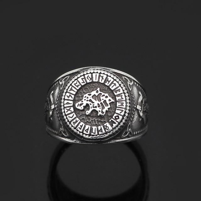 Norse Viking Wolf Rune Ring 4