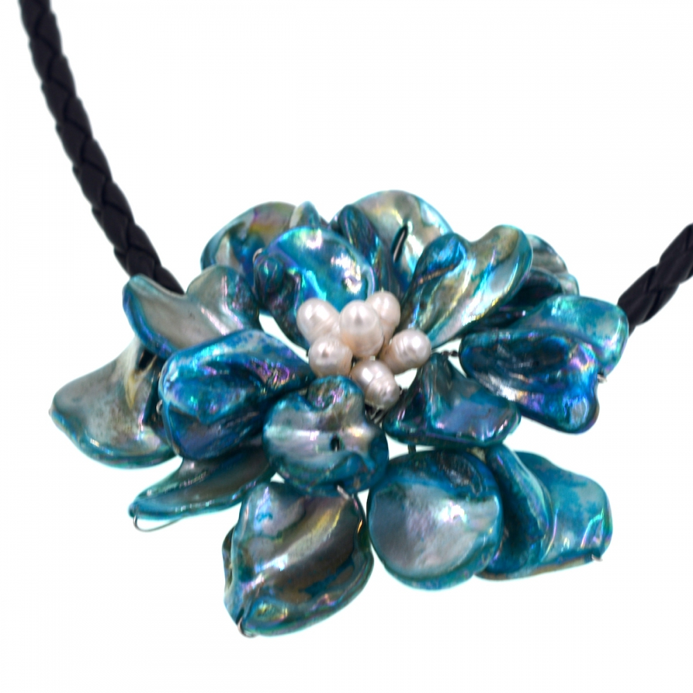 Free Shipping NEW!! Natural white pearl and turquoises blue shell flower pendant necklace 60mm Jewelry Hot Sell