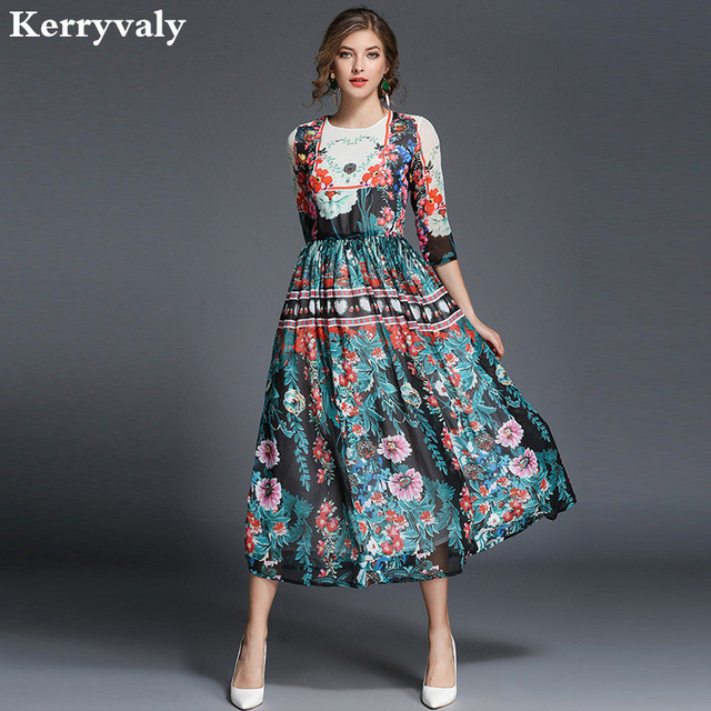Bohemian Green Floral Print Long Dress Autumn Dresses Women 2018 ...