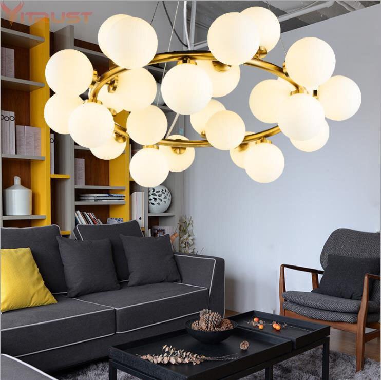 Nordique Lustre Lumières luminaires suspendus hanglampen LED Luminaire Noir Or Haricot Magique Suspendu Lampes Bulle Lampe