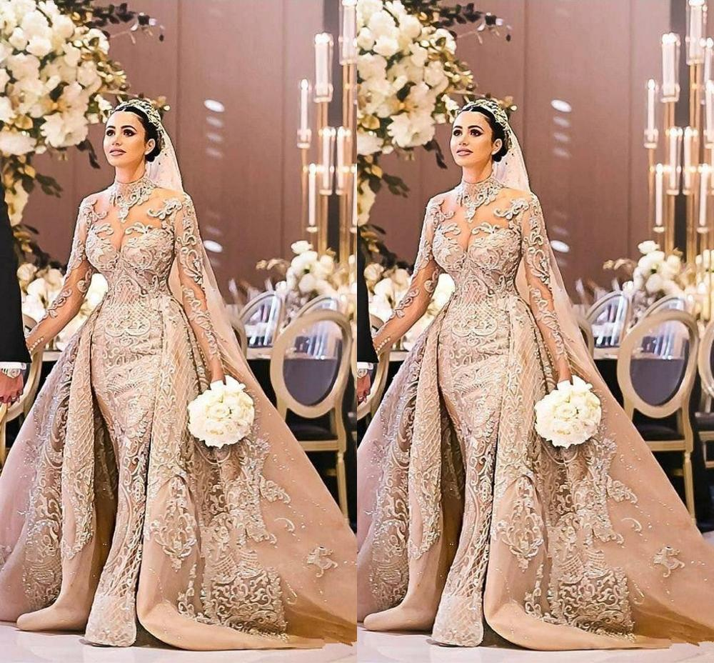 2019 Dubai Arabic Wedding Dresses Lace Appliques Off: Arabic Dubai Gorgeous High Neck Long Sleeve Wedding Dress