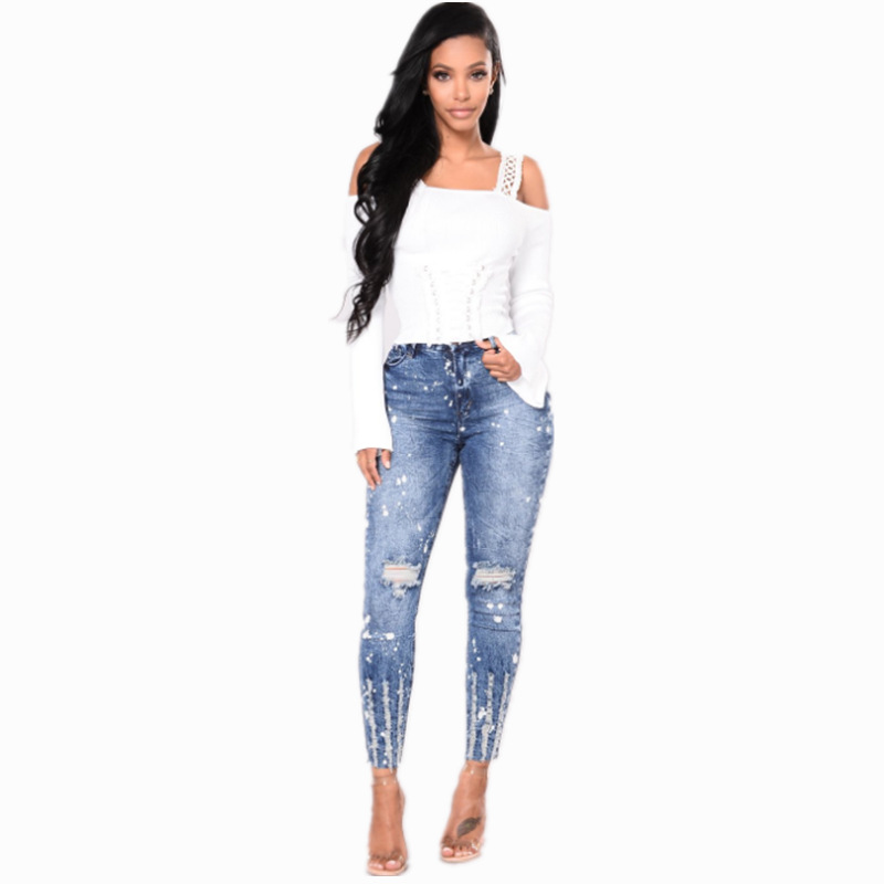 2019 New Spring High Waist Ripped Hole Pencil Jeans Pencil Pants Woman Blue Elastic Denim Pants Casual Plus Size Trousers in Jeans from Women 39 s Clothing