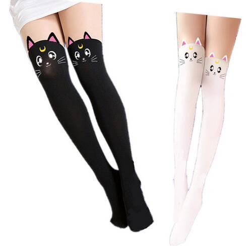 Anime Sailor Moon Cosplay Costume Women Luna Cat Socks Pantyhose Silk Leggings Stockings