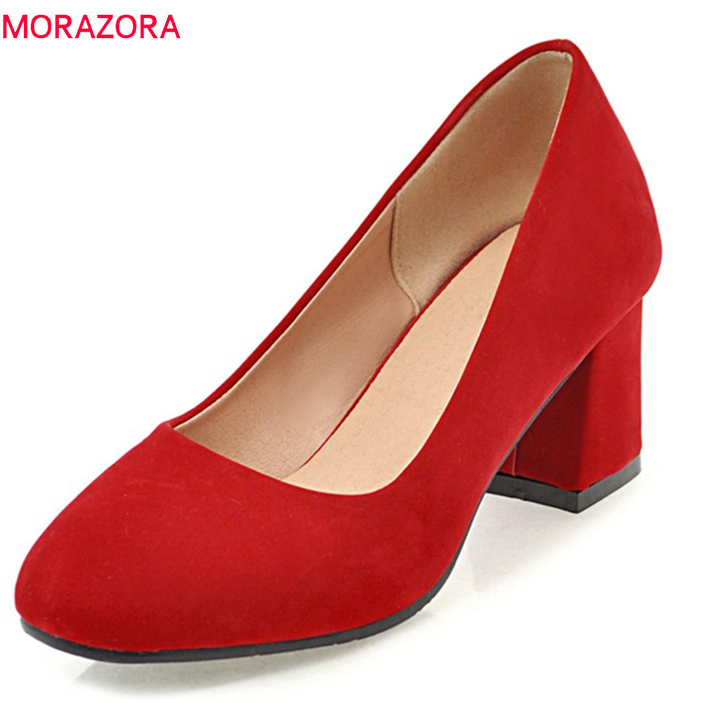 MORAZORA 2018 round toe female pumps shallow slip on high heels square heel flock casual dress mature pumps women shoes gold chain party 2017 spring summer casual shallow slip on square toe bling square heels women pumps free ship mujer pantufa