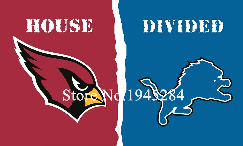 NFL Arizona Cardinals Detroit Lions House Divided Flag 3x5ft 150x90cm Polyester Flag Banner, free shipping