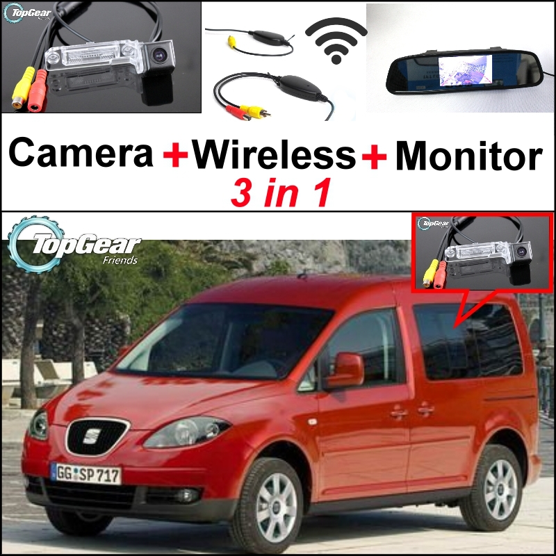 Wireless Receiver + Mirror Monitor Easy DIY Back Up Parking System + For SEAT Inca 2006~2012 3 in1 Special Rear View Camera wireless pager system 433 92mhz wireless restaurant table buzzer with monitor and watch receiver 3 display 42 call button