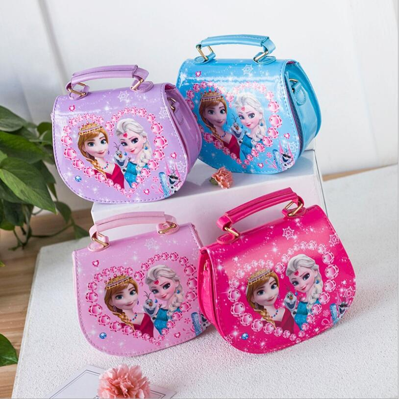 2018 New Girls Cute Shoulder Bag Children Cartoon Elsa and Anna Handbag Kids Tote Girls Shoulder Bag Mini Bag Wholesale ...