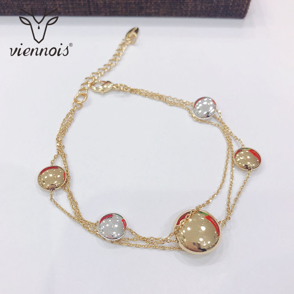 Viennois Bangles Bracelet Wedding-Jewelry Gold-Color Women Fashion for Chain Trendy